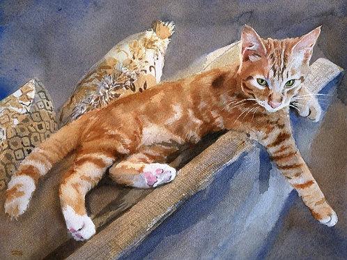 """""""Tabby Couch"""" Tabby Cat art Giclée"""