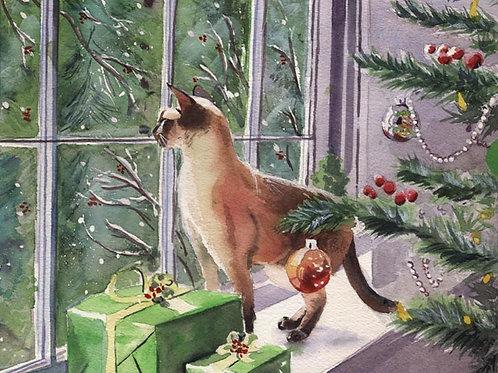 """""""Siamese Christmas"""" Cat Giclée"""