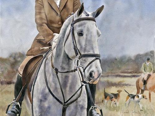 """Grey Foxhunter"" Irish Draught Horse Art Giclée"
