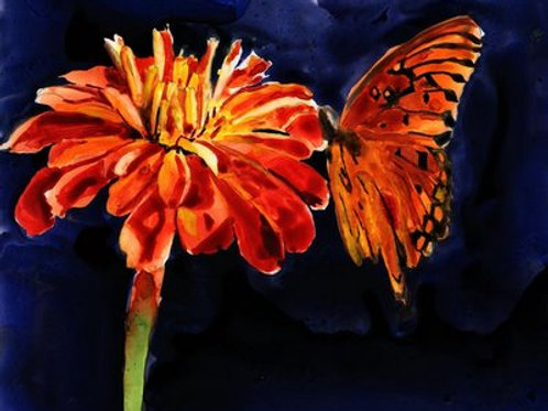 """Monarch Butterfly on Ranunculus Flower"" Giclée"