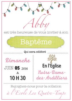 Invitation Baptême
