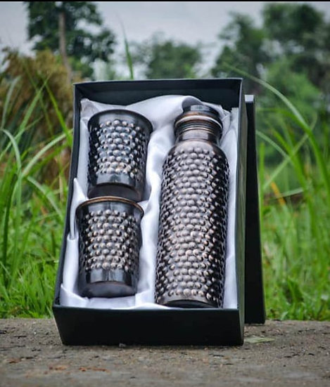 The Amrit Life | Pine Copper Bottle gift box with 2 Pine Copper glasses
