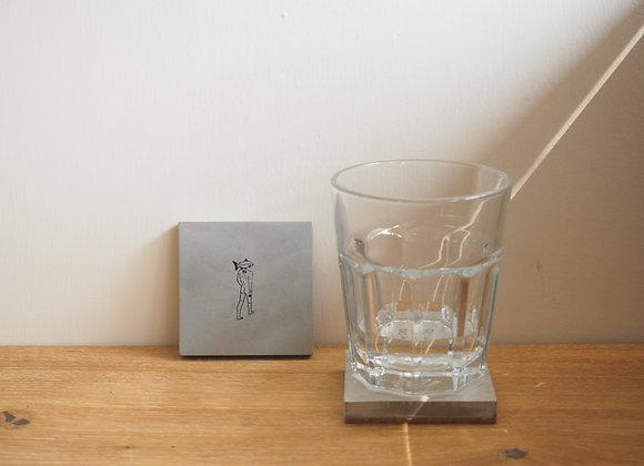 Freeze の 三文魚人•方形 水泥杯墊(細)
