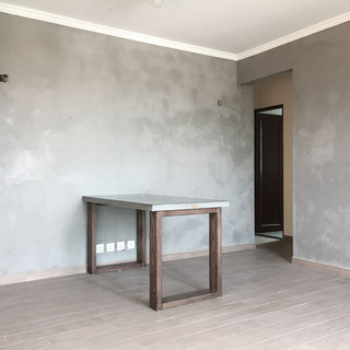 CONCRETE WALL PAINT & CUSTOM-MADE CONCRETE DINING TABLE,TAI PO