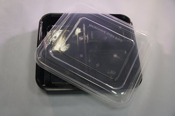 3 Compartment Black Plastic Container