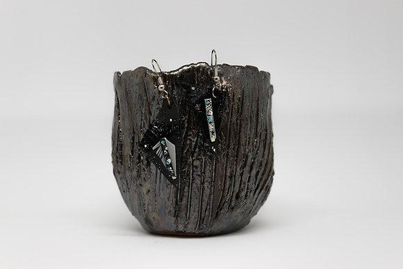 Boucles d'oreilles grosses hampes cuir et plumes