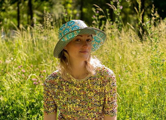 Capeline enduit 70's vert / fleurs XL