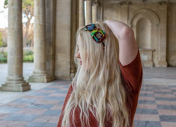 Serre-tête Origami et plumes de faisans