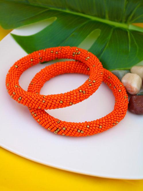 Orange Bliss Beaded Bracelet