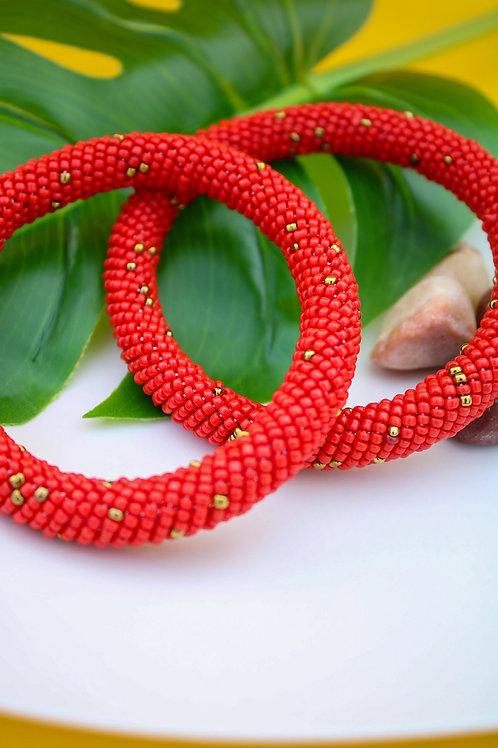 Ruby Beaded Bracelet