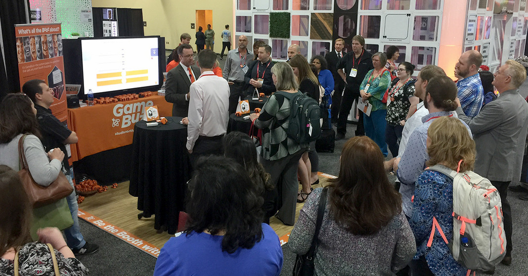 AVP's Gamification system Game Buzz in action at a trade show.