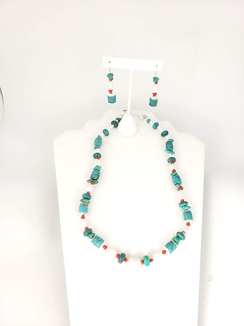 Coral, Freshwater pearl and Turquoise set