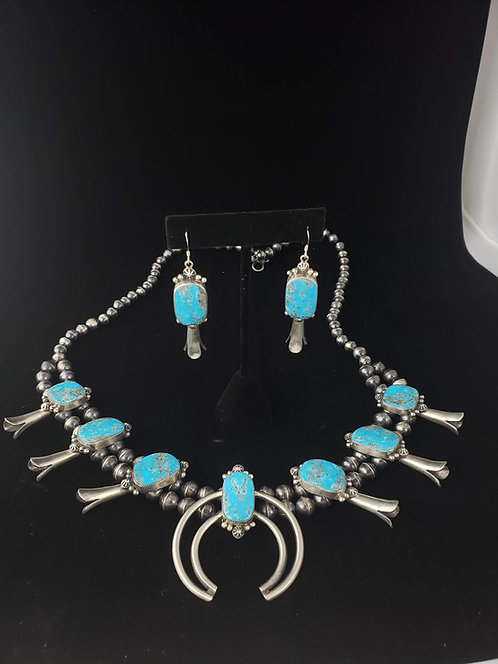 Turquoise Squash Blossom & Earrings