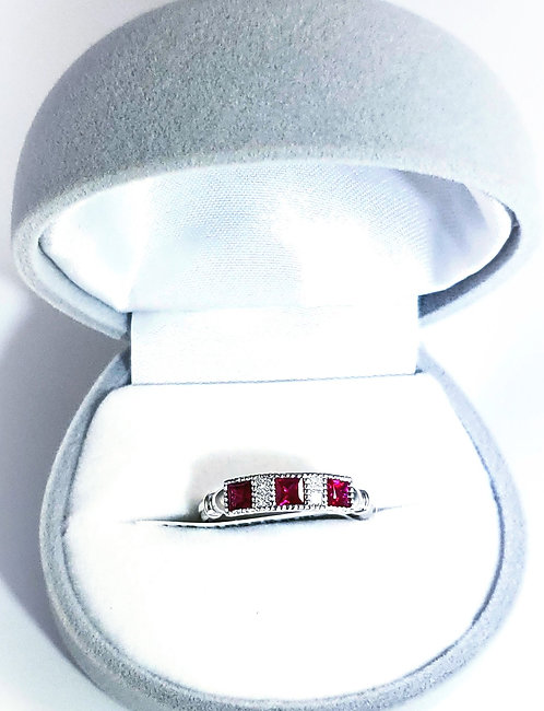18 Karat white gold, Ruby, & Diamond Ring