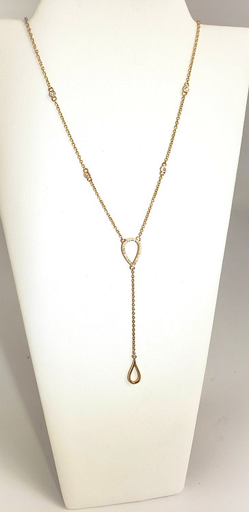 14 Karat Rose Gold Diamond Lariat Necklace