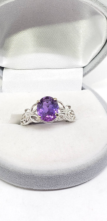Genuine Amethyst & 14 Karat White Gold Ring