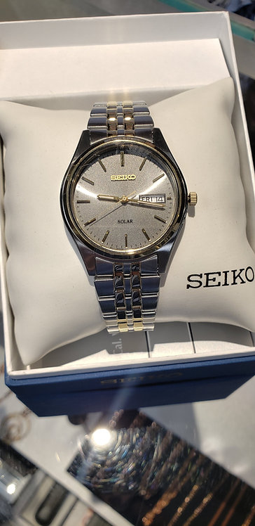 Mens Two-Tone Seiko Solar watch with day/date