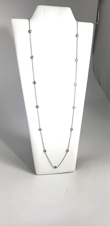 14 Karat White Gold Diamonds-by-the-Yard Necklace