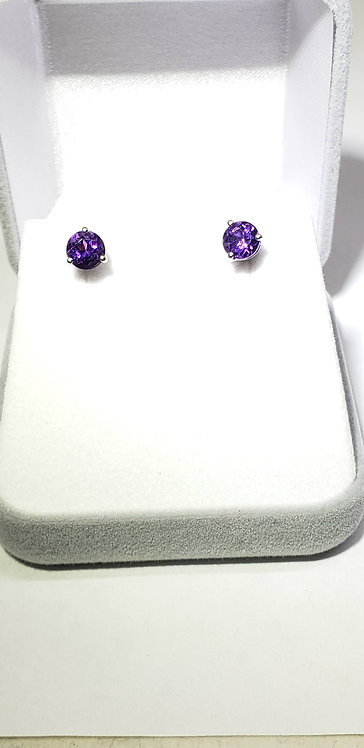 Genuine Amethyst & 14 Karat White Gold Studs