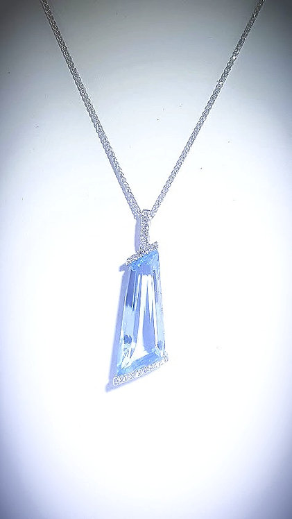 14KW Blue Topaz & Diamond Pendant