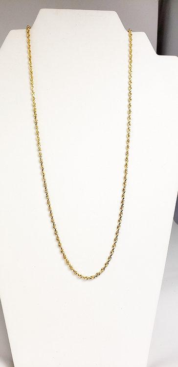 14Karat Yellow Gold Diamond Cut Rope Chain