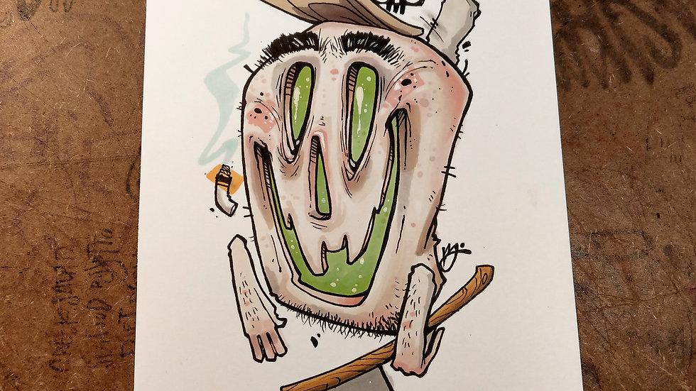 Axed / ink and marker original illustration