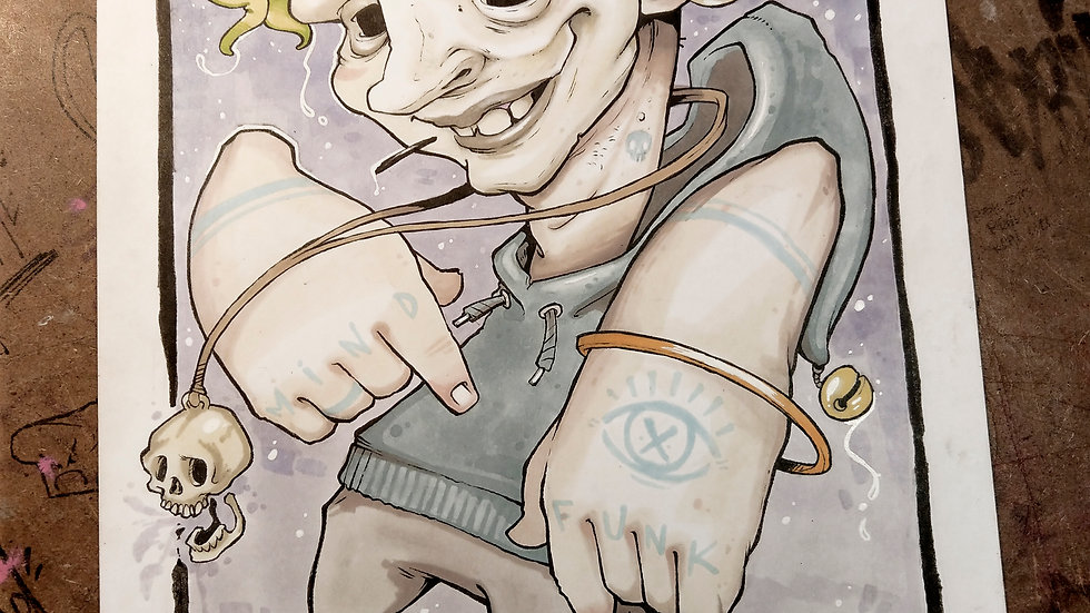Brain buddy / ink and marker original illustration
