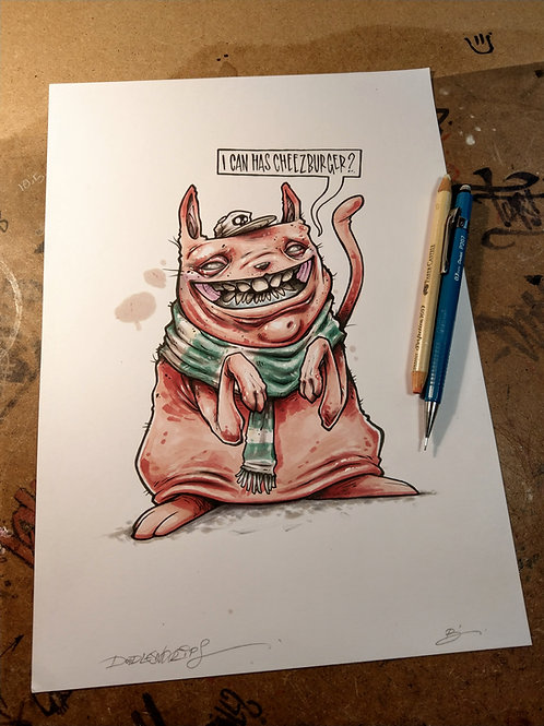 I can has cheezburger? / ink and marker illustration