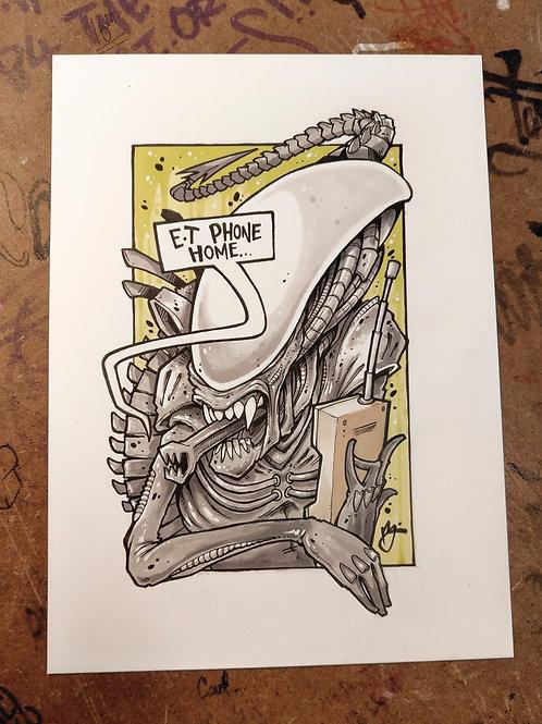 E.T Phone home / ink and marker original illustration