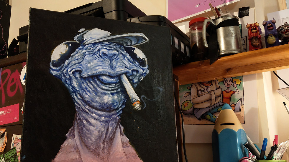 Extra terrestrial Toker / oil painting