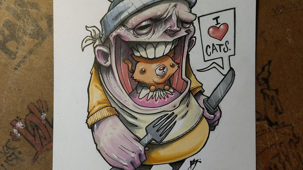 CAT LOVER / ink & markers original illustration