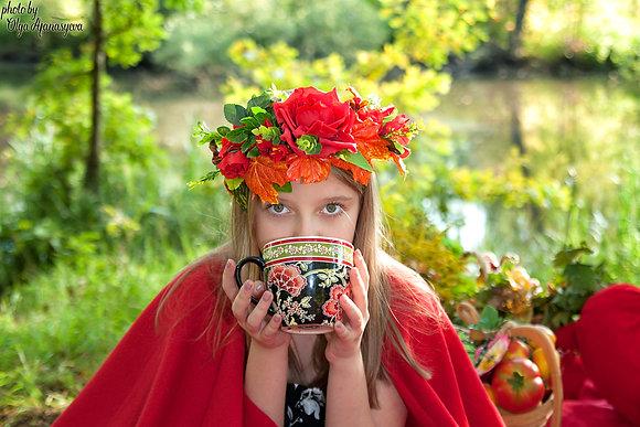 """Венок """"Осенняя роза"""" и осенних листьев клена"""