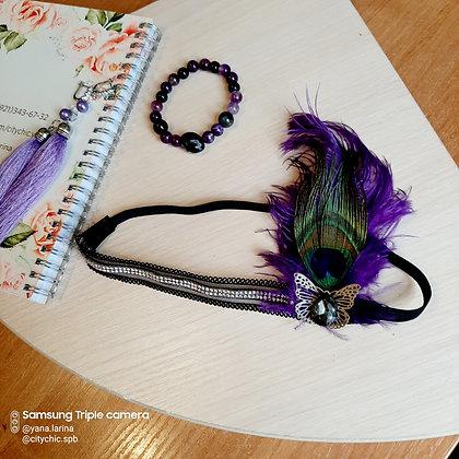"""Повязка с перьями на голову """"Violette"""""""