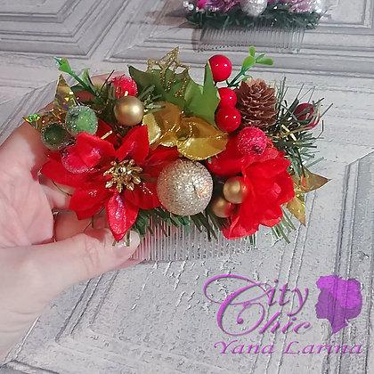 """Новогодний аксессуар, гребень """"Рождество"""""""