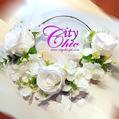 """Белоснежный венок для невесты """"Роза и Сакура"""""""
