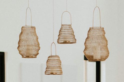 Gold Hanging Pillar Candle Lanterns