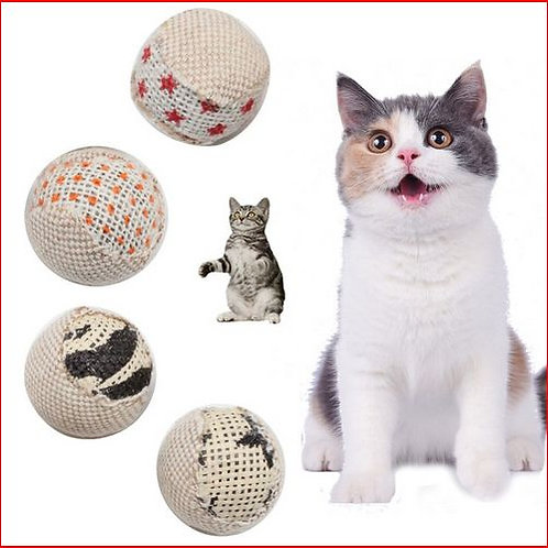 4pcs/pack 5cm Funny Interactive Cat Toys Ball Diameter Cat Chewing Toy Rattling