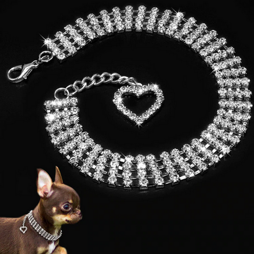 Misterolina 4 Rows Rhinestones Necklace Pet Dog CollarsBling Jewelry Collars Hea