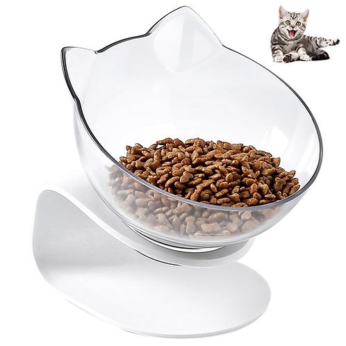 Petacc Pet Bowl Anti-slip Cat Dish Tilted Pet Feeder with Slope Base Suitable