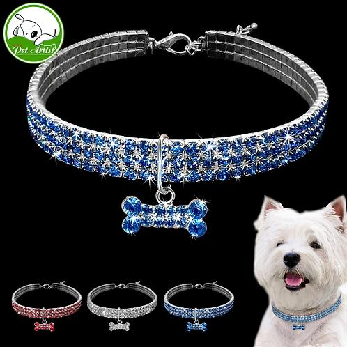 Rhinestone Puppy Dog Collars Jeweled Crystal Kitten Cat Necklace Bone Charm