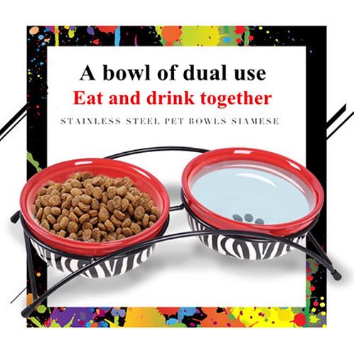 KEMISIDI Cartoon Style Ceramic Pet Bowl Pet Feeder Pet Supplies For Cats Dogs