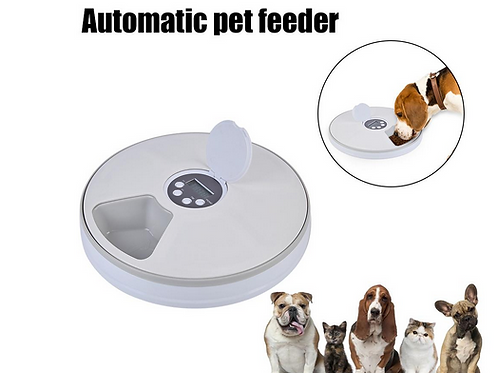 Automatic Pet Feeder Timing 6 Grids Food Compartments For Dog Cat Rabbit And Sma