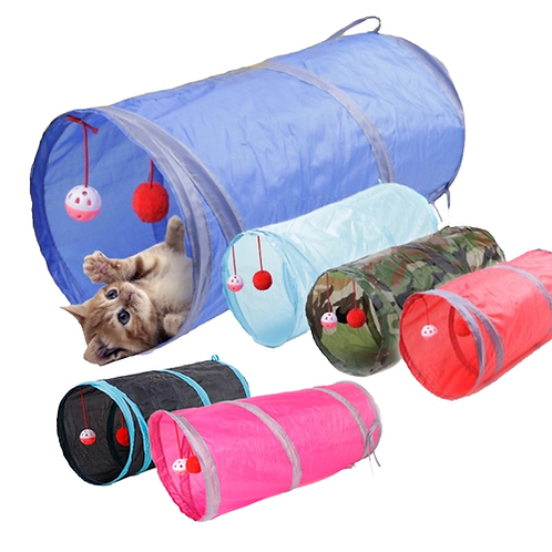 6 Color Funny Pet Cat Tunnel 2 Holes Play Tubes Balls Collapsible Crinkle Kitten