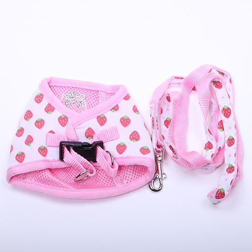 Dog Cat Sweet Harness&Leash Strawberry Desgin Pet puppy Harness Soft Walk Collar