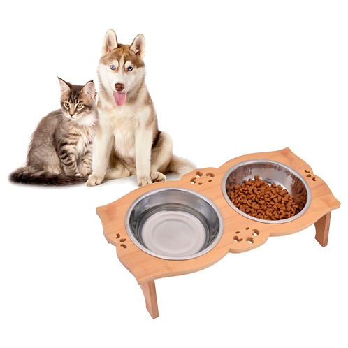 Dog Bowl Wooden Stainless Steel Dogs Cat Food Water Dish Feeder Raised Stand