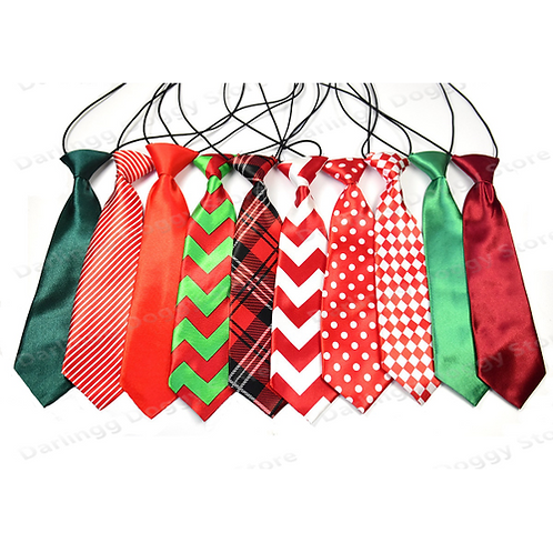 10pcs Christmas Dog Large Neck Ties White Green Red Adjustable Neckties Dog