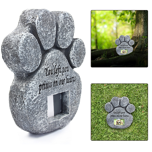 Paw Print Pet Memorial Stone With Photo Frame Loss Of Pet Gift Dog or Cat Grave