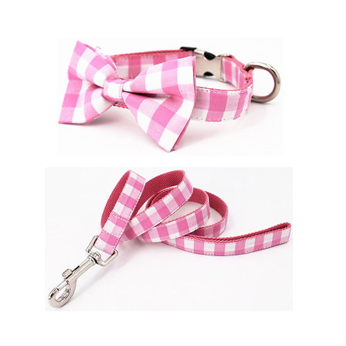 Pink plaid collar and leash set with bow tie cotton dog &cat necklace and dog