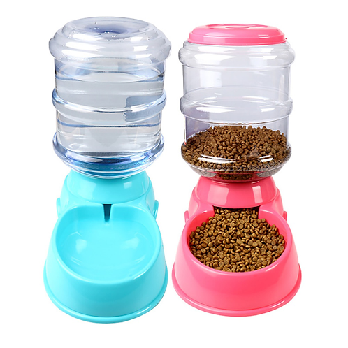 3.5L Large Automatic Pet Feeder Fountain Water Food Dispenser Capacity Waterer