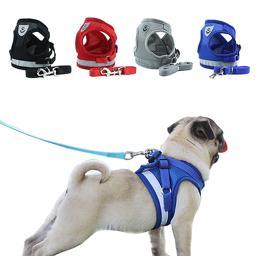 Dog Cat Harness Vest Reflective Walking Lead Leash for Puppy Dogs Polyester Mesh